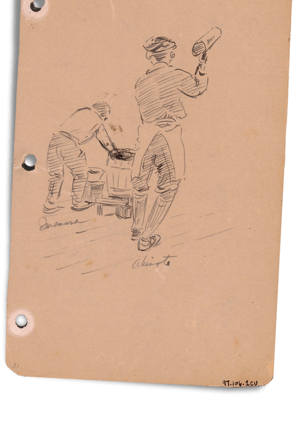 Sketch of Internees making mochi - JANM Enemy Mail