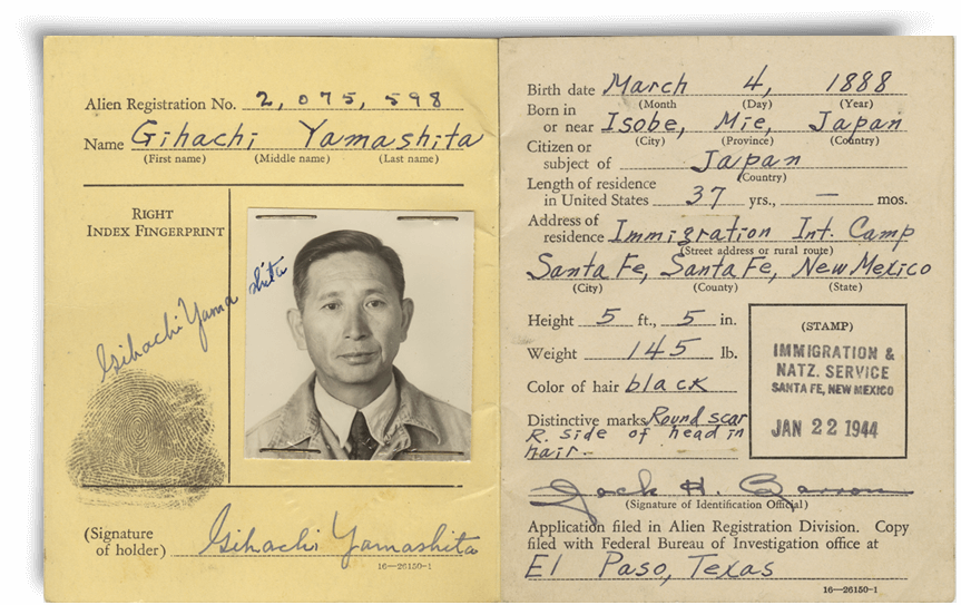 Gihachi Yamashita Registration Card - JANM Enemy Mail