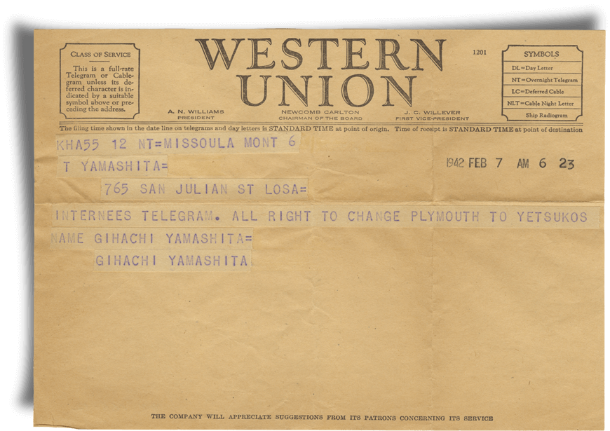 Plymouth Telegram - JANM Enemy Mail