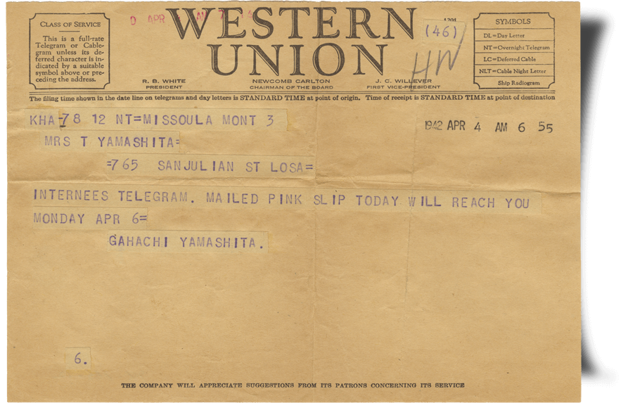 Pink Slip Telegram - JANM Enemy Mail