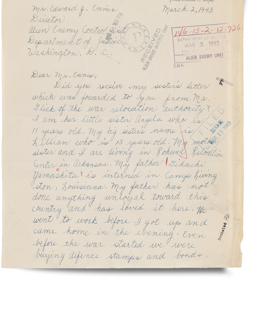 Letter to War Relocation Authority - JANM Enemy Mail