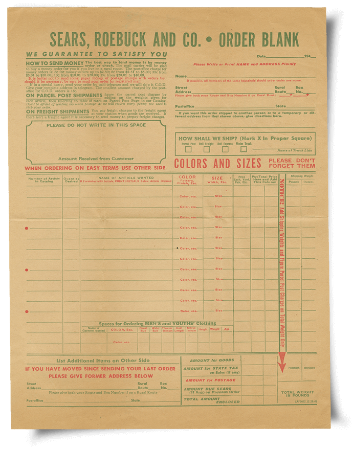 Sears, Roebuck and Company Blank Order Form - JANM Enemy Mail